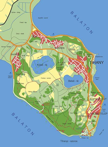 Tihany kerékpárút térkép